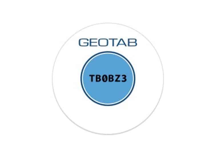 Bild: Geotab NFC Aufkleber mit blauem Etikett zur Fahreridentifikation Durchmesser 40mm